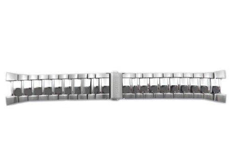 Seiko Silver Tone Stainless Steel Fold-Over Push Button Clasp 24/11mm Watch Band (Clearance)