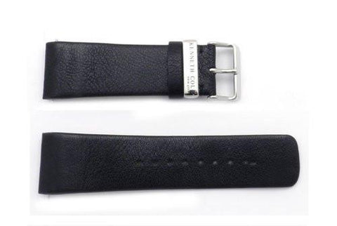 Kenneth Cole 27mm Genuine Black Textured Leather Square Tip Watch Band