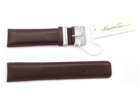 Kenneth Cole Genuine Smooth Brown Leather Square Tip 22mm Watch Strap