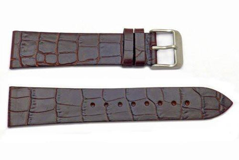 Kenneth Cole Genuine Leather Brown Crocodile Grain 21mm Watch Strap