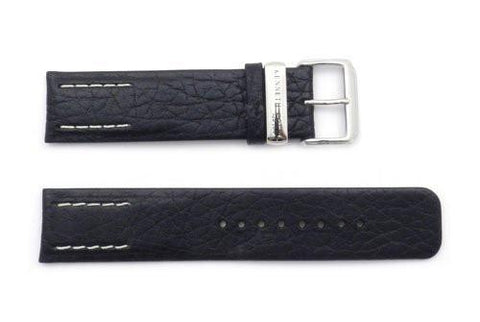 Kenneth Cole Genuine 22mm Textured Black Square Tip Leather Watch Band