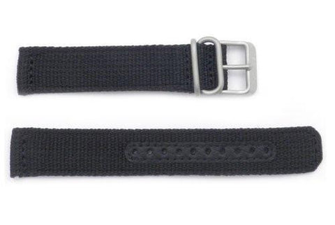 Seiko Chronograph Black Nylon 18mm Watch Band
