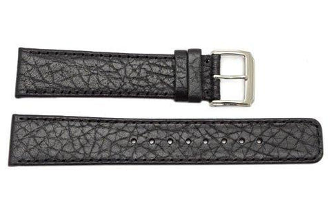 Kenneth Cole Genuine Textured Black Leather Square Tip 20mm Watch Band