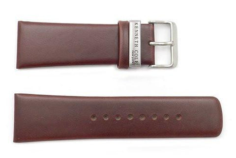 Kenneth Cole Genuine Smooth Leather Brown 28mm Wide Watch Strap