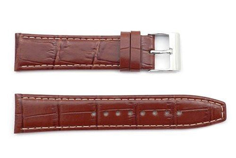 Kenneth Cole Genuine Textured Brown Leather Alligator Grain 22mm Watch Band