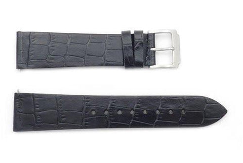 Kenneth Cole Genuine Black Alligator Grain 21mm Watch Strap