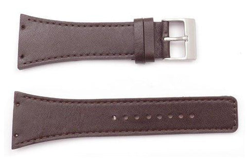 Kenneth Cole Genuine Smooth Brown Leather Square Tip 30mm Watch Strap
