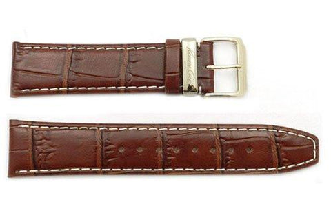 Kenneth Cole Genuine Textured Leather Brown Crocodile Grain 22mm Watch Strap