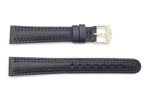 Movado Genuine Black Calfskin Leather 15mm Watch Band