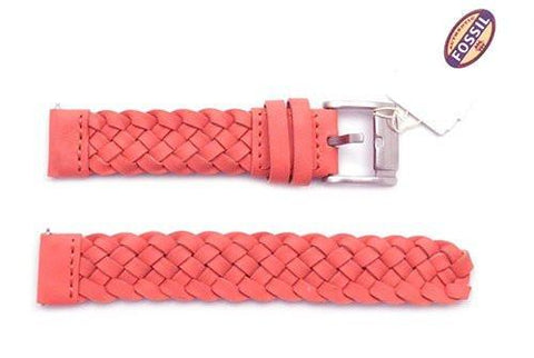 Fossil Coral Braided Leather 18mm Watch Strap