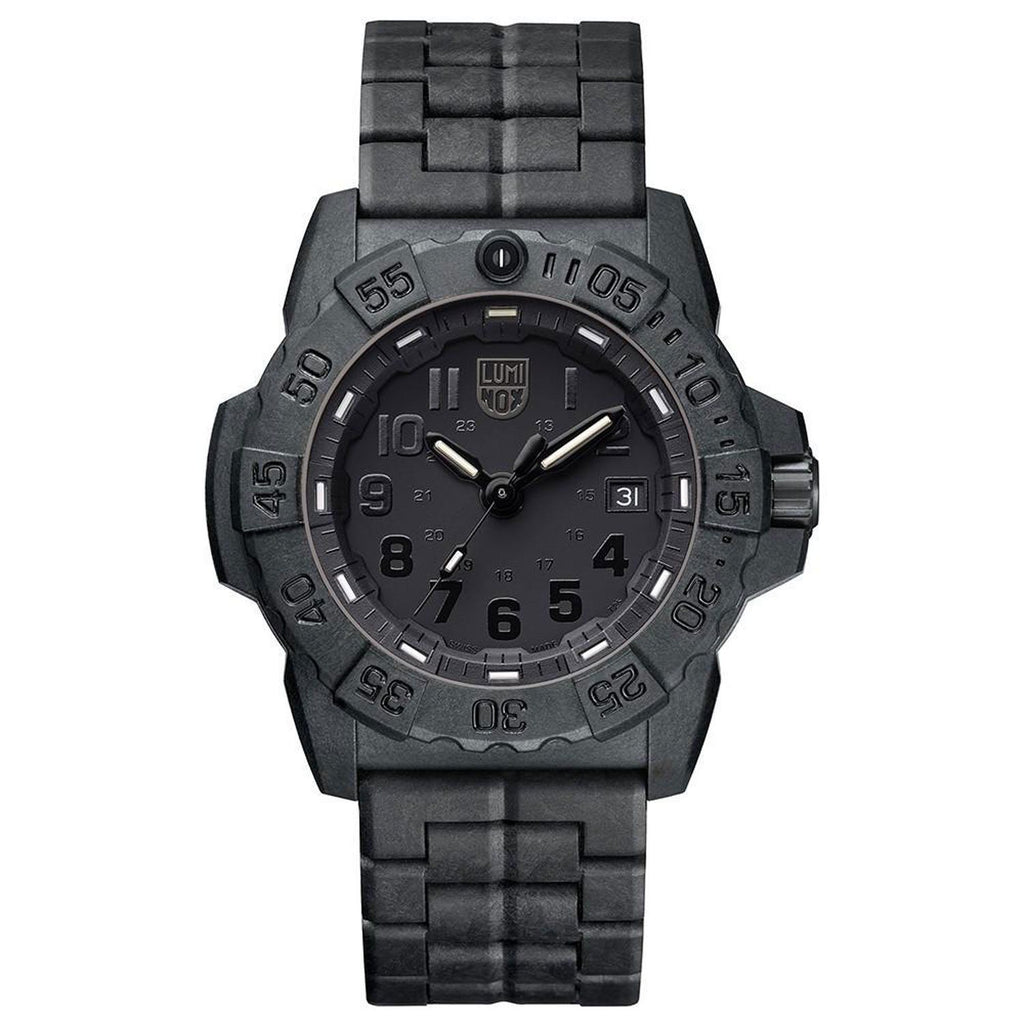 Luminox Men's Navy SEAL XS.3502.BO.F Trident Diver's Blackout Watch image