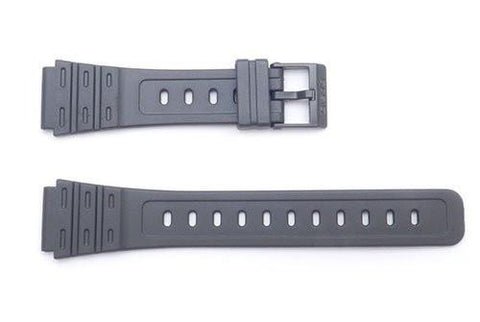 Genuine Casio Black Resin 21.5/18mm Watch Strap- 70604074