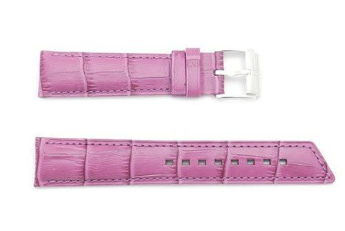 Hirsch Princess - Fuchsia Alligator Grain Textured Leather Slant Cut Short Watch Strap