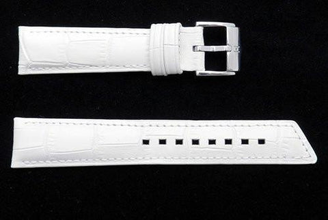 Hirsch Princess - White Alligator Grain Textured Leather Slant Cut Watch Strap