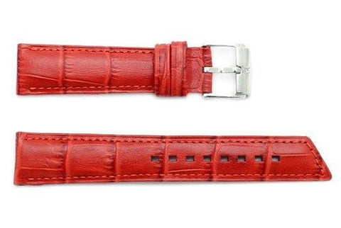 Hirsch Princess - Red Alligator Grain Textured Leather Slant Cut Short Watch Strap