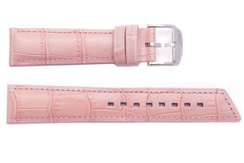 Hirsch Princess - Rosa Alligator Grain Textured Leather Slant Cut Short Watch Strap