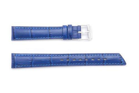 Hirsch Princess - Royal Blue Alligator Grain Textured Leather Slant Cut Short Watch Strap