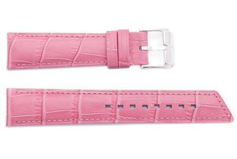Hirsch Princess - Pink Alligator Grain Textured Leather Slant Cut Short Watch Strap
