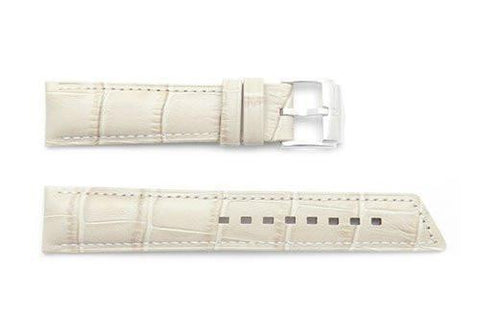 Hirsch Princess - Beige Alligator Grain Textured Leather Slant Cut Short Watch Strap