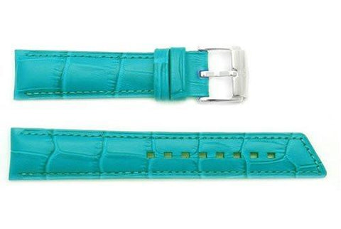 Hirsch Princess - Teal Alligator Grain Textured Leather Slant Cut Short Watch Strap