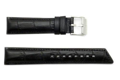 Hirsch Princess - Black Alligator Grain Textured Leather Slant Cut Short Watch Strap