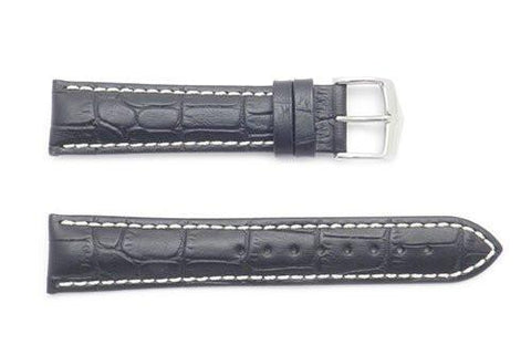 Hirsch Modena - Black Alligator Embossed Watch Strap