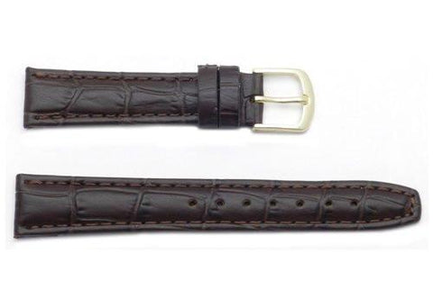 Hadley Roma Brown Calfskin Alligator Grain Leather Watch Band