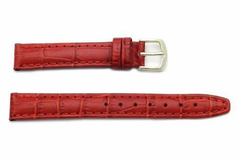 Hadley Roma Red Calfskin Alligator Grain Leather Watch Band