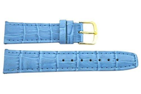 Hadley Roma Light Blue Calfskin Alligator Grain Leather Watch Band