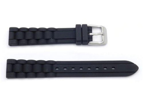 Hadley Roma Black Silicone Diver Watch Band