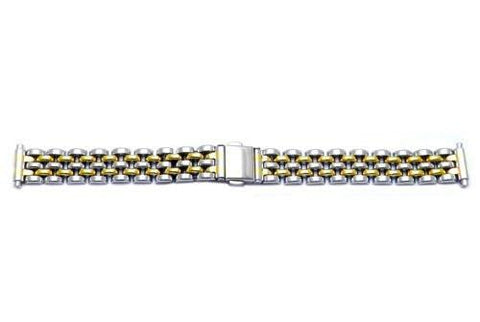 Hadley Roma Ladies Dual Tone Polished Watch Bracelet Size 12-16mm