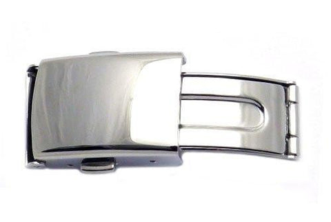 Hadley Roma Polished Stainless Steel Push Button Fold Over Buckle