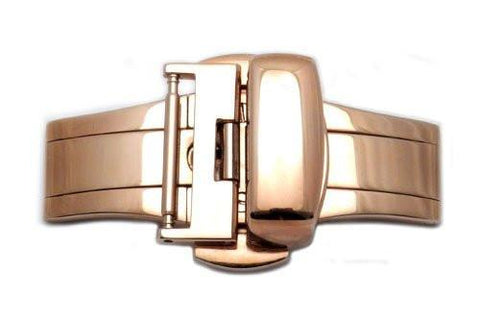 Hadley Roma Rose Gold Push Button Butterfly Deployment Clasp
