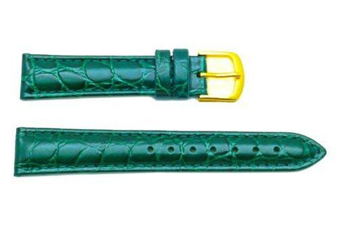 Hadley Roma Crocodile Grain Green Textured Leather Watch Band