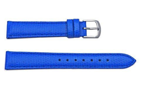 Hadley Roma Java Lizard Grain Blue Textured Leather Long Watch Strap