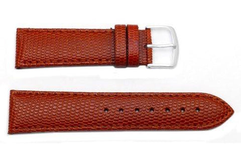 Hadley Roma Java Lizard Grain Tan Textured Leather Long Watch Strap