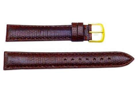 Hadley Roma Genuine Java Lizard Brown Watch Band Long