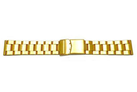 Hadley Roma Rolex Submariner Style Gold Tone Solid Link Watch Bracelet - Straight End