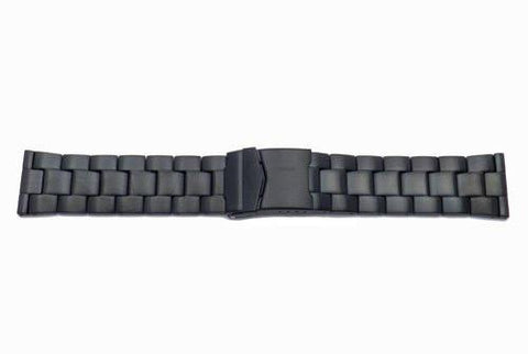 Hadley Roma Black Tone Solid Link Design Watch Strap