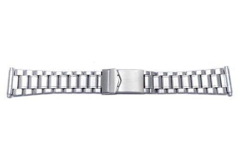 Hadley Roma Men's Stainless Steel Brushed and Polished Watch Bracelet Size 18-22mm