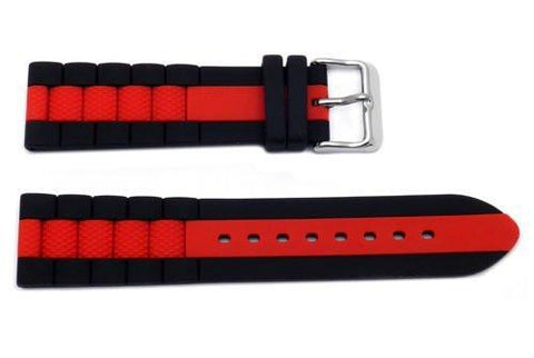 Hadley Roma Genuine Silicone Red Center Stripe Diver 22mm Watch Strap