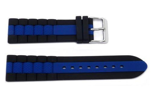 Hadley Roma Genuine Silicone Blue Center Stripe Diver 22mm Watch Strap