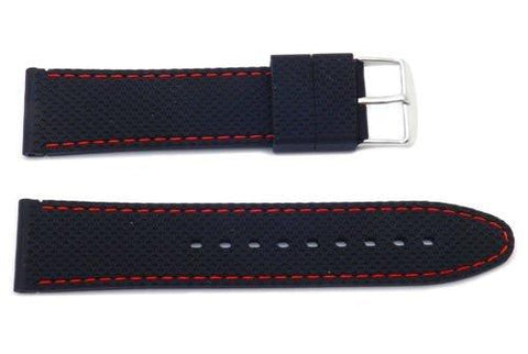Hadley Roma Black Genuine Silicone Diver 22mm Watch Band With Red Stitching