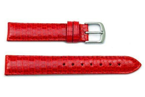 Hadley Roma Red Genuine Java Lizard Light Padding Thin Watch Band