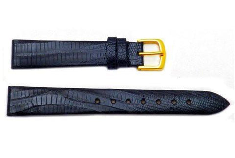Hadley Roma Black Genuine Teju Lizard Ladies Watch Band