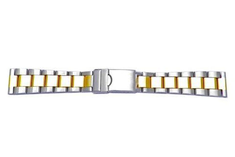 Hadley Roma 20mm Dual Tone Rolex Oyster Style Solid Link Watch Bracelet - Straight End