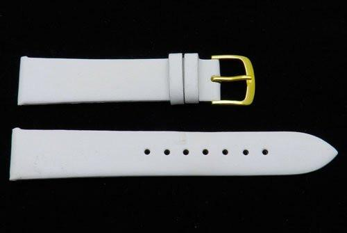 Hadley Roma White Genuine Calfskin Flat 18mm Watch Strap