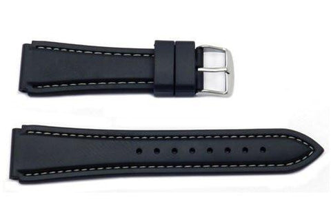 Hadley Roma Black Genuine Rubber Diver Watch Band With White Stitching
