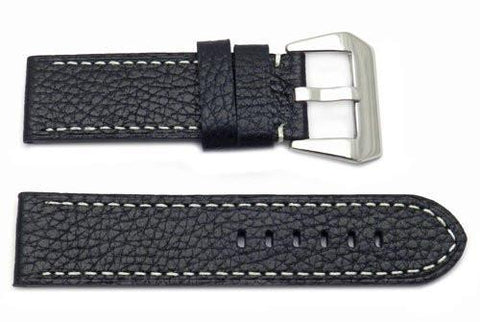 Genuine Textured Leather Heavy Padding Black Panerai Style Watch Band