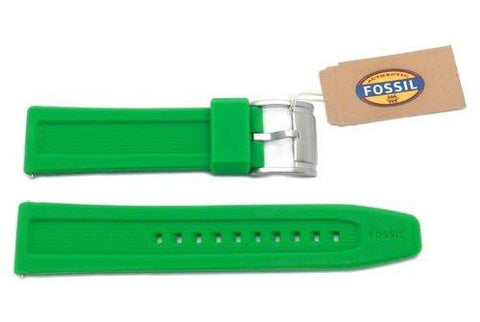 Fossil Green Silicone Logo Imprinted 22mm Watch Strap